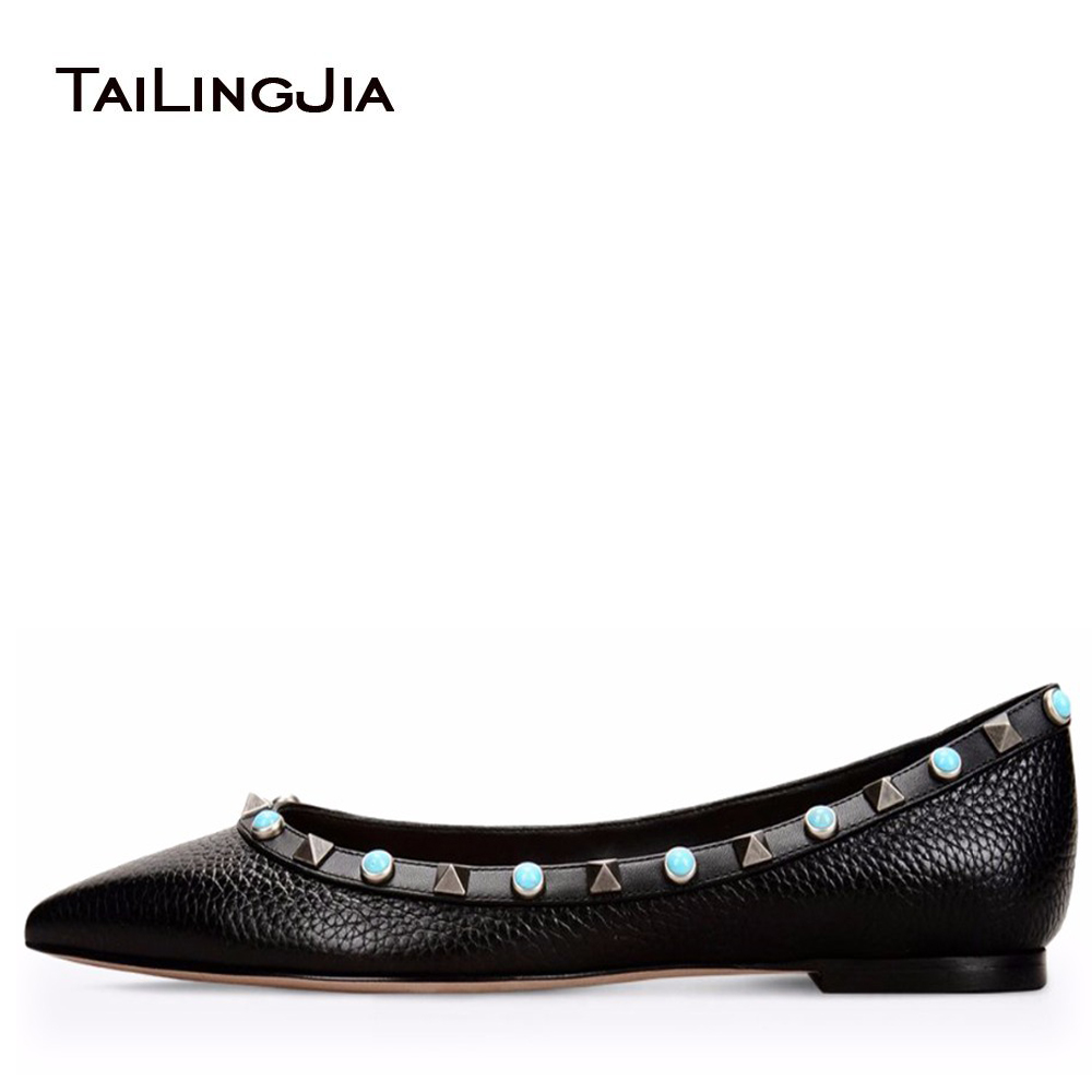 2017 Women Sliver Studs Ballet Shoes Ladies Red Green Grey Balck White Slip On Flats Colorful Gold Rivets Pointed Toe Ballerinas fashion women pointed toe flats shoes spring autumn rivets bowtie shallow slip on woman ballet flats ladies single shoes pink