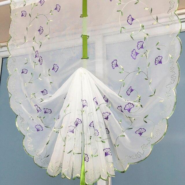 Blanco cortina de Tul Bordado Patrón de flores de Color Púrpura ...