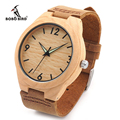 BOBO BIRD Men Minimalist Natural Bamboo Japanese Quartz Wooden Dial Genuine Leather Band Wrist Watch With Gift Box For Couples