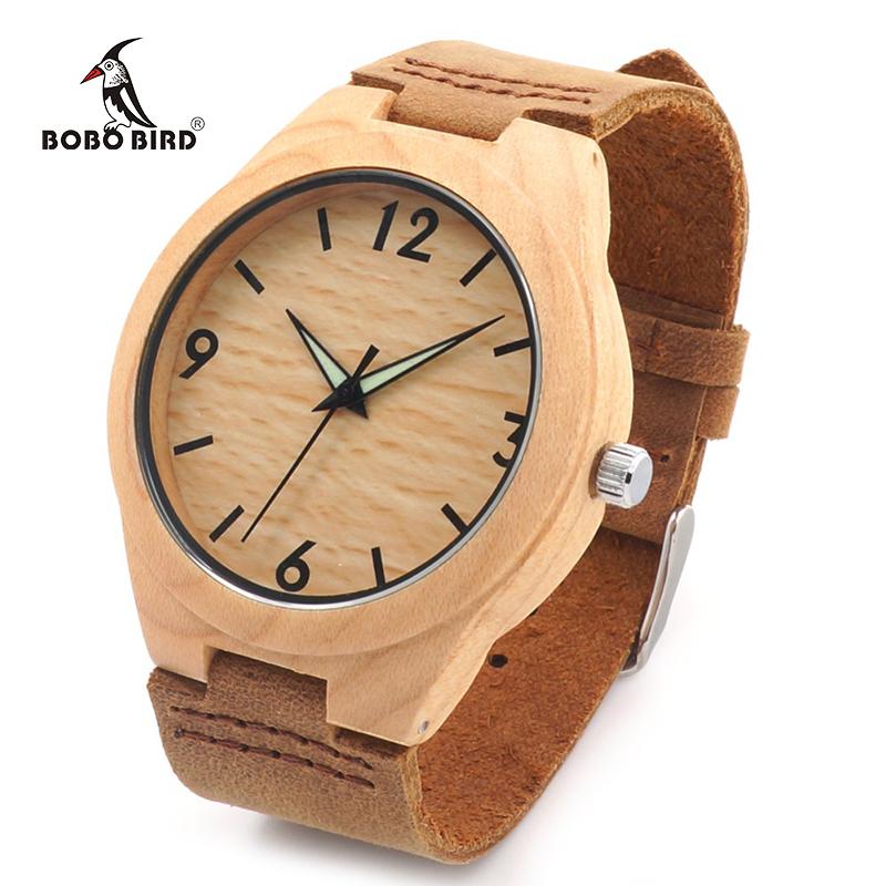 Prix pour Bobo bird hommes minimaliste naturel bambou japonais quartz en bois cadran bande de cuir véritable montre-bracelet avec boîte-cadeau pour les couples