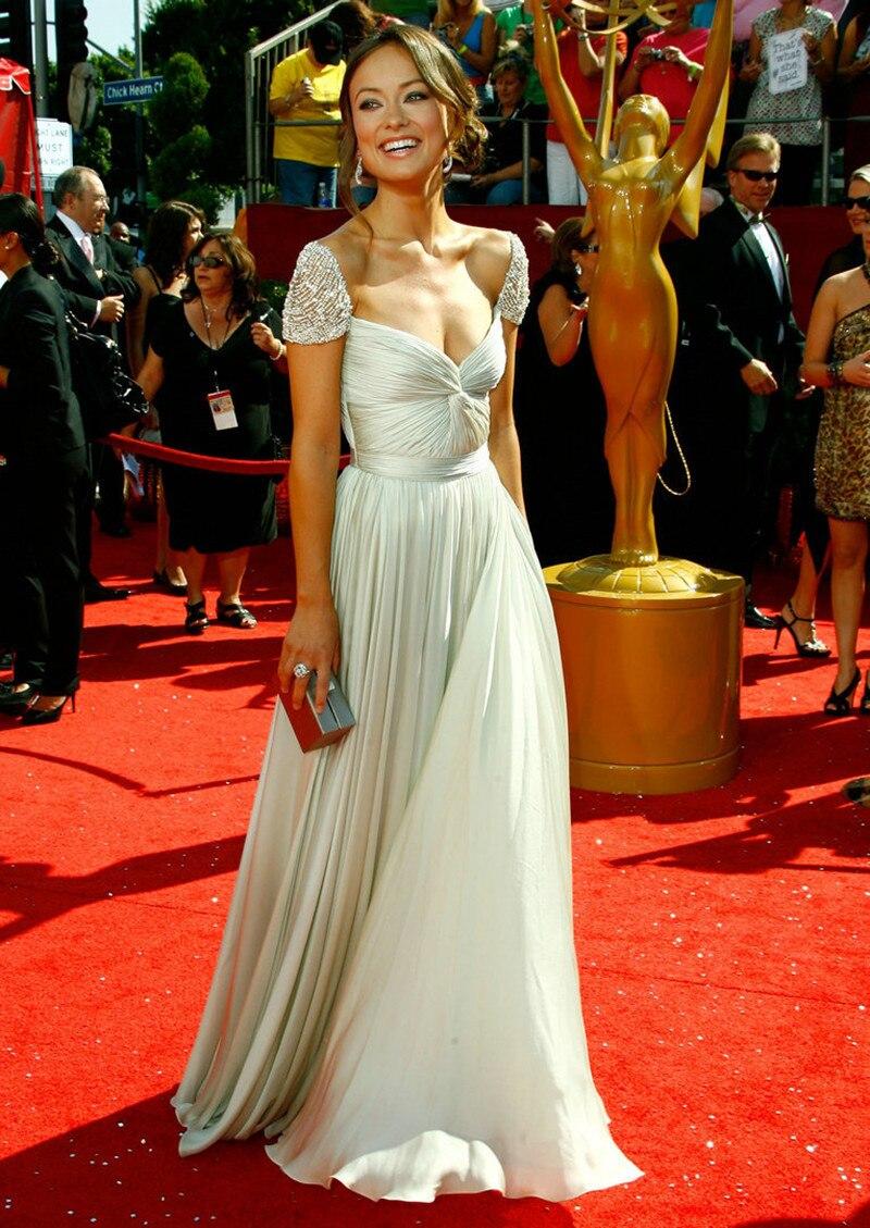 Red Carpet Dress Olivia Wilde Oscar Dresses Stylish Beaded Cap Sleeves Chiffon Floor Length Long Celebrity In Inspired From