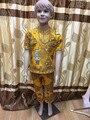 Meninos vestido de tecido cera africano com embrodiey cording top com calças para boykids/crianças de 2 ~ 14 anos calças tem um bolso 9 cores