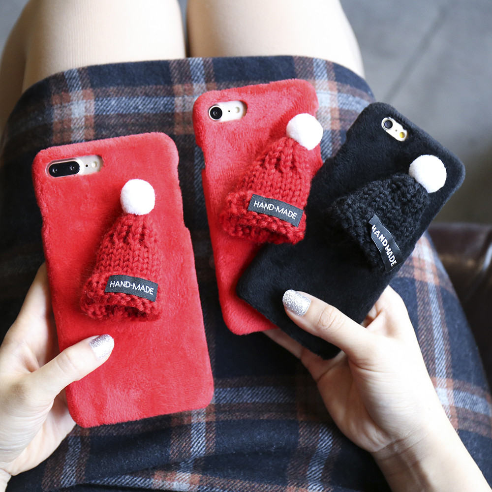 Winter Warm Lovely Case para iPhone 7 8 Plus XS Max XR X 6 6s Plush - Accesorios y repuestos para celulares - foto 4