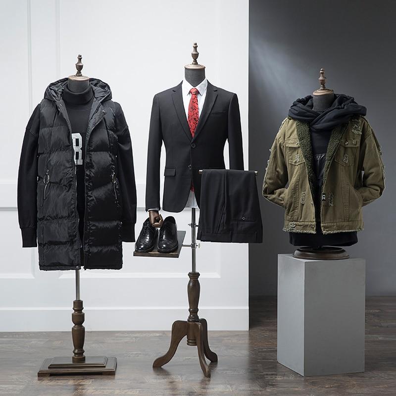 De gama alta negro medio cuerpo paño modelo madera mano hombres ropa maniquí tienda pasarela modelo elevación accesorios traje estante de exhibición - 6