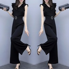 Elegant Office Lady Black Belted Wide Leg Jumpsuit Solid Women Summer Sexy Deep V Neck Jumpsuit Skinny Ruffle Jumpsuit One Piece