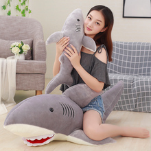 Decorative Pillows Plush Toy Shark 50/70/80/100cm Stuffed Animals Soft For Chairs Cushions Simulation Seat Cushion