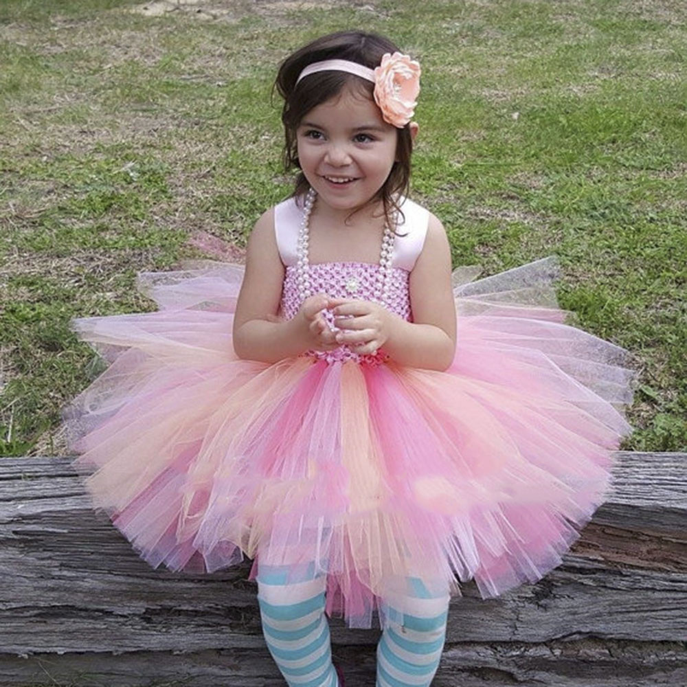 Pretty Girls Dress Peach Coral Pink Pastel Knee length Tutu Dress ...