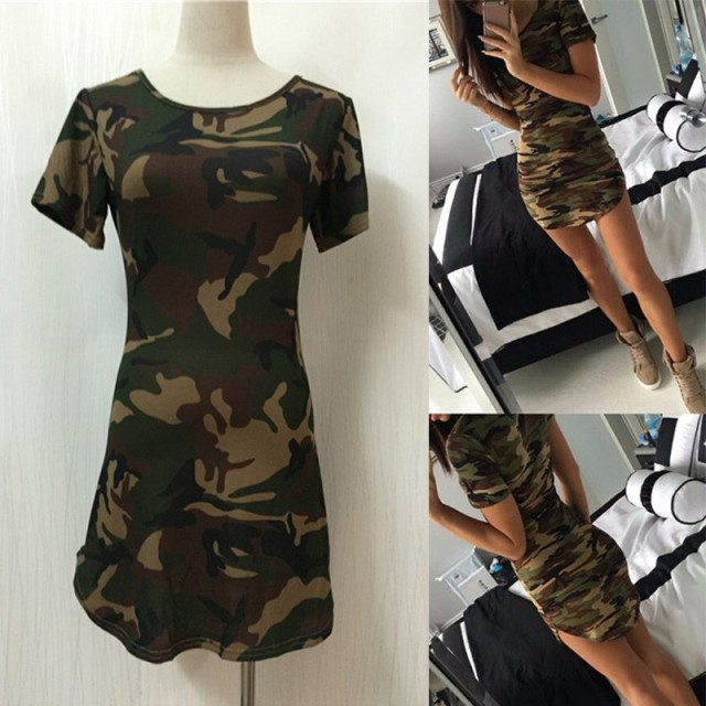 Women Summer Dress Short Sleeve O-Neck Sexy Mini Dresses Green Camouflage Print Vestidos