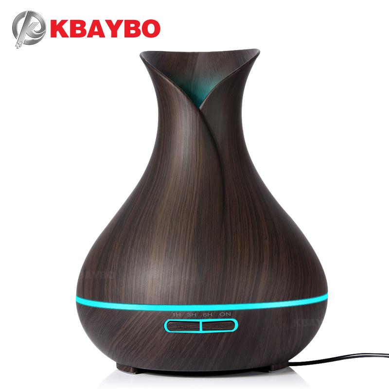 KBAYBO 400ml Aroma Essential Oil Diffuser Ultraljud Luftfuktare med Wood Grain Electric LED Lights arom diffusor för hem