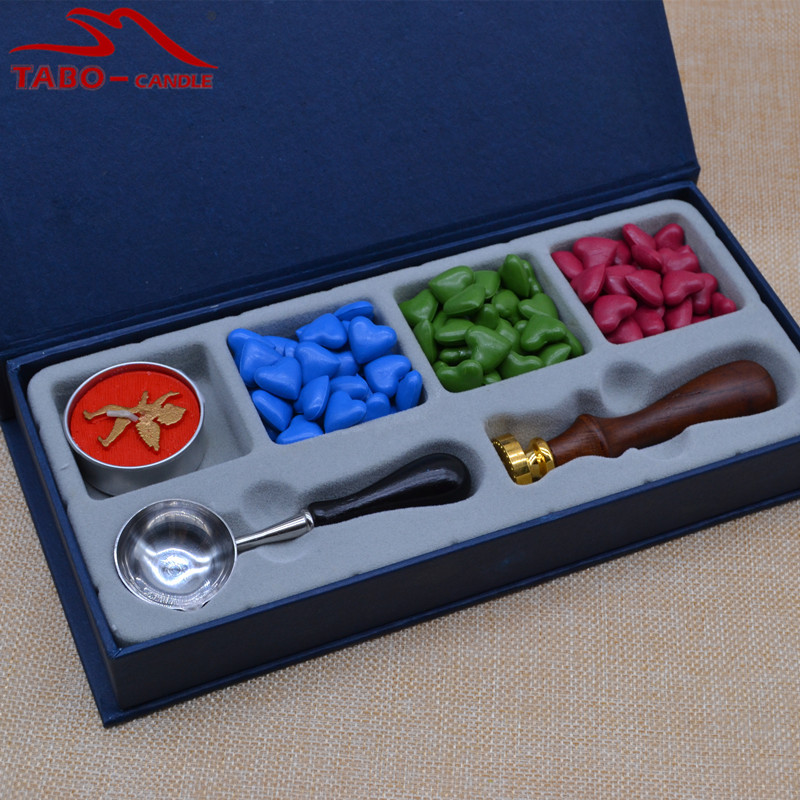 particle deposition Particle Beads Wax Seal Set with Angel Tea Light Candle Diameter 20mm Lotus Sealing Wax Stamp