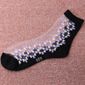 1 Pair Fashion Women Lady Lace Crystal Glass Silk Short Thin Transparent Roses Flower Socks
