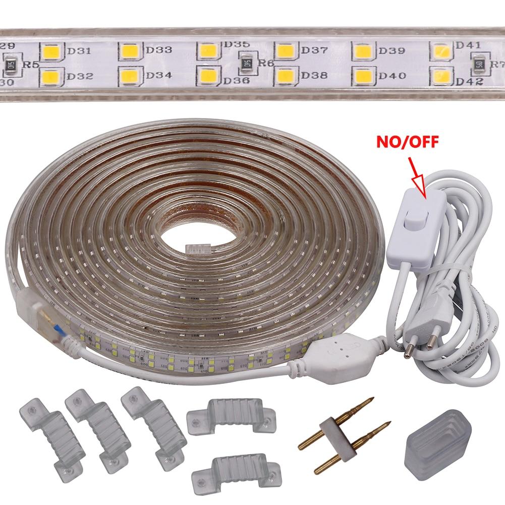 ED Strip Light Waterproof LED Tape AC 220V SMD 2835 180LEDs/m Flexible LED Light for Living Room Outdoor Lighting + 3M EU Plug