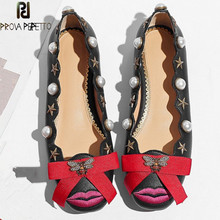 Prova Perfetto Sxey Red Lip Bowknot Flat Shoes Woman Rhinestone Bee Pentagram Ladies Shoes Real Leather Shallow Wedding Shoes