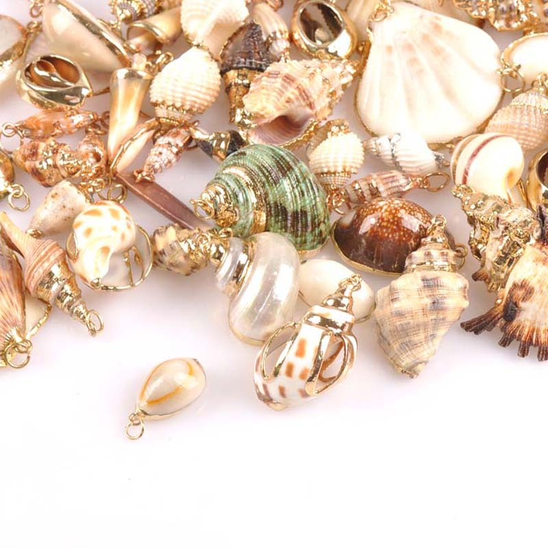 18 Design Pick 2pcs Natural Shell Gold Plated For Earrings DIY Handmade Charms Pendants SeaShells Home Decoration TRS0251-2