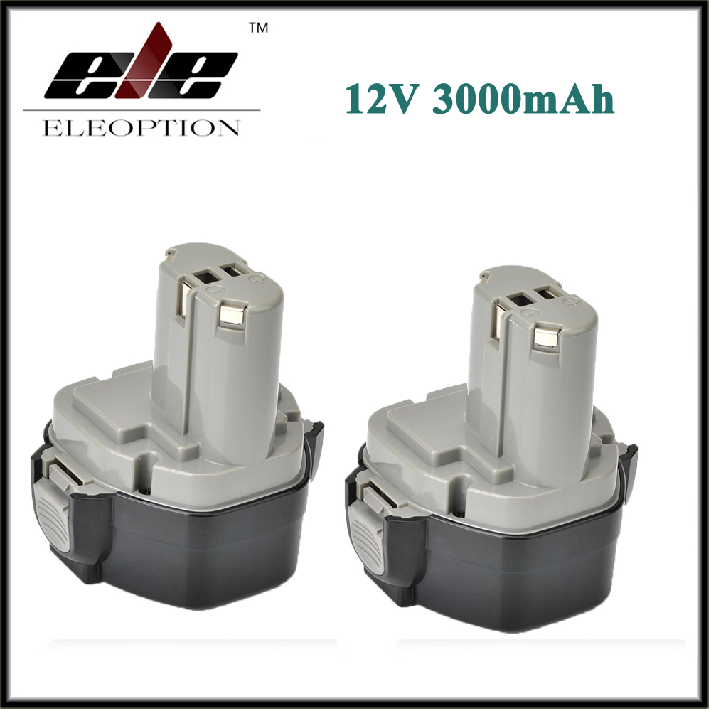 2 pcs ELEOPTION 12V 3000mAh Ni MH Battery for MAKITA 1235 1233 192698 A 1050D 4013D