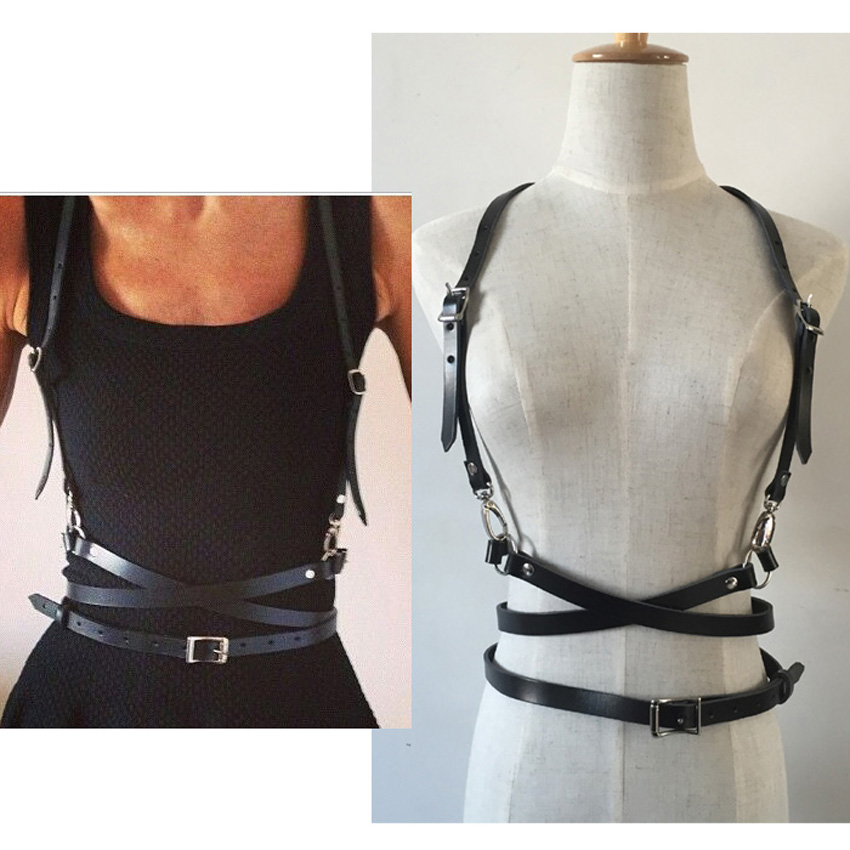 3ae74a3cdcf ... Dark Rock street strap Leather Harness Body Waist Belt Straps  Adjustable Buckle Belt Garter Belt leather ...