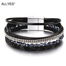 ALLYES Slim Rope Leather Bracelets For Women Jewelry Trendy Crystal Acrylic Beads Wide Multilayer Bracelet Female Bijoux Femme(China)