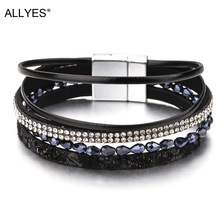 ALLYES Slim Rope Leather Bracelets For Women Jewelry Trendy Crystal Acrylic Beads Wide