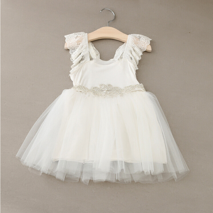 7d598fb46f106 New Hot Baby Girls Fairy Tulle Lace Puff Sleeve Mesh Dress Shine ...