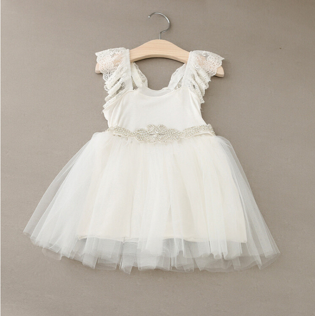 New Hot Baby Girls Fairy Tulle Lace Puff Sleeve Mesh Dress Shine Sashes, Princess White Party Clothing 5 pcs/lot, Wholesale