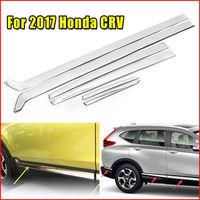 Car Styling Mouldings 6pcs Stainless Steel Door Side Line Cover Trim Garnish Strip For Honda CRV