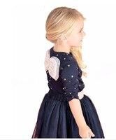 2pcs New Children Kids T Shirt Bow Knot Navy Tops Long Sleeve Toddler Skirts Girls Size