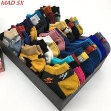 10 par/partia mężczyźni i kobiety kolorowe nowość śmieszne skarpetki para Trendy happy style szalone bawełniane oddychające krótkie skarpetki
