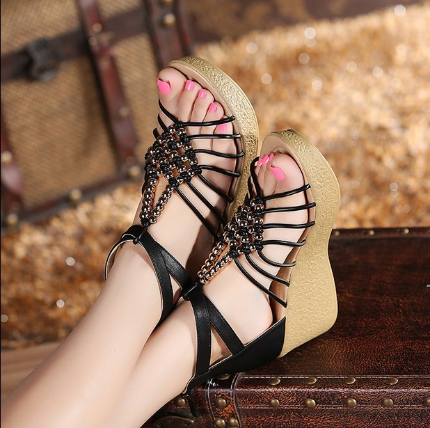 freeshipping New platform high heeled women sandals wedges summer bohemia shoes woman open toe sandal slippers size 34-41 summer shoes woman platform sandals women soft leather casual open toe gladiator wedges women nurse shoes zapatos mujer size 8