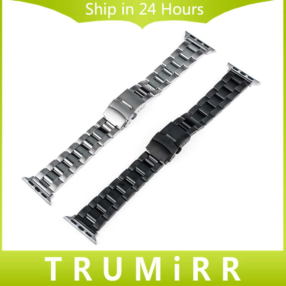 Stainless Steel Watchband + Adapters for iWatch Apple Watch Sport Edition 38mm 42mm Band Safety Buckle Strap Wrist Belt Bracelet stainless steel band bracelet wrist strap for 38mm 42mm iwatch apple watch sport edition with adapter
