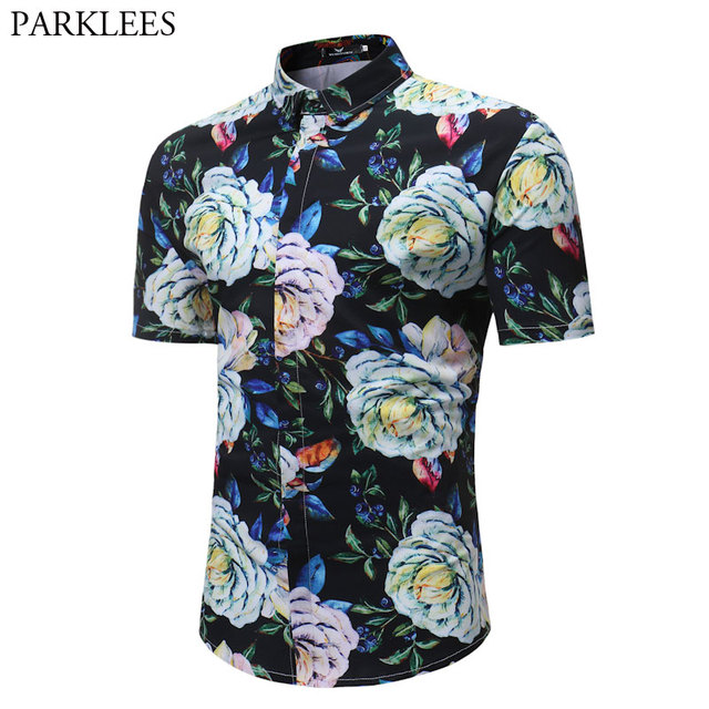 00d507e71a5f Summer Fashion Short Sleeve Mens Beach Hawaiian Shirt Slim Fit Camisas  Hawaianas Para Hombres Casual Holiday Party Clothing 3XL