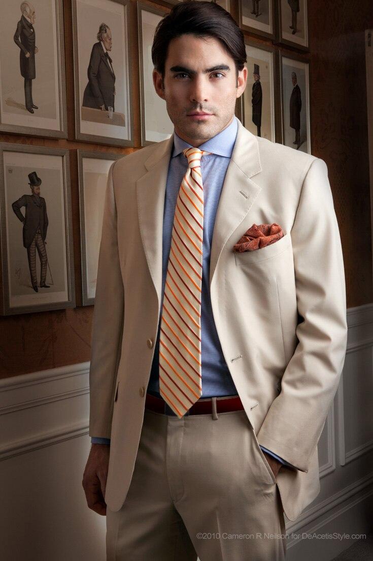 Latest Coat Pant Designs Beige Men Suit Formal Skinny Classic Prom ...
