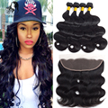 Brazilian Virgin Hair With Closure Free/Middle/Three Part Lace Frontal Closure With Bundles Brazillian Body Wave Beauty Frontal