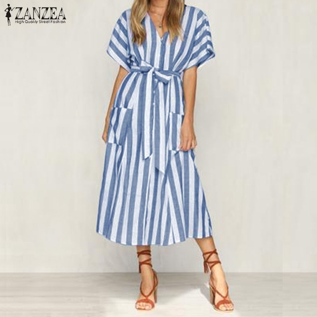 0a51010fa4 2018 ZANZEA Women Vintage Striped V Neck Short Sleeve Summer Long Shirt  Dress Casual Loose Bow Tie Split Hem Work OL Vestido