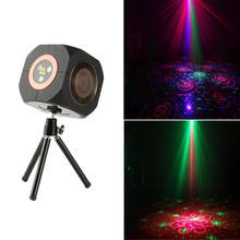 цена на Audio Speaker Whirlwind Laser RGB LED Stage Light Bluetooth Projector Stage Disco DJ Laser Party Mini Laser Projector Christmas