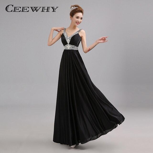 CEEWHY Sexy V-Neck Long Evening Dress Crystal Party Elegant A-line Prom  Evening Gowns Vestidos de Festa Pleated Formal Dress 4b45b63c5233