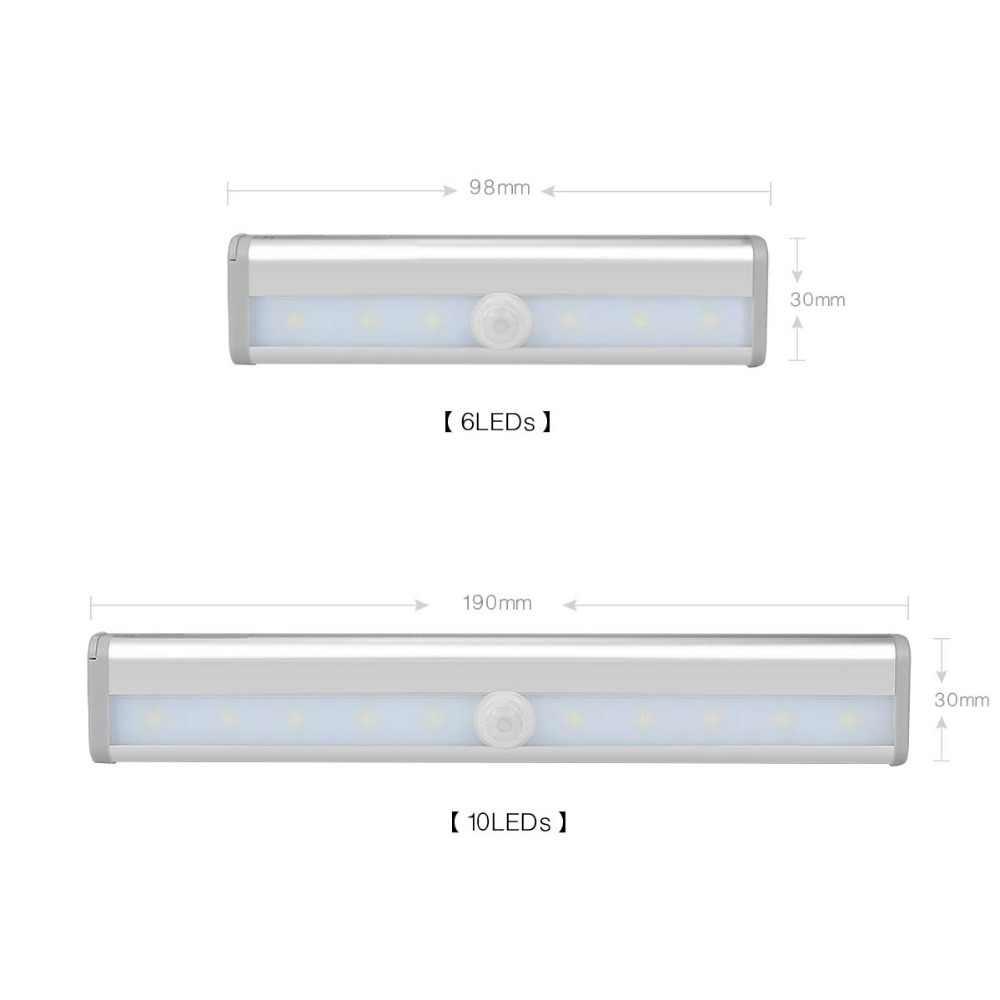 Беспроводной светодиодный светильник для шкафа PIR датчик движения шкаф настенный светильник жесткая полоса бар свет кухонный шкаф аварийное освещение