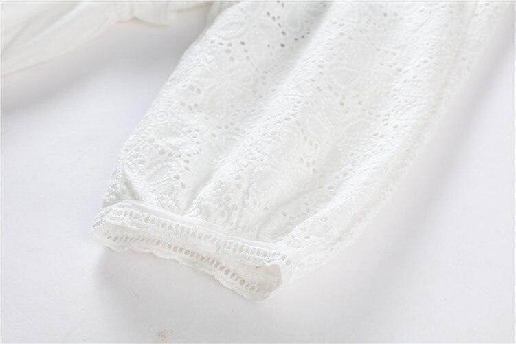 Automne Dames Élégant Sexy D'été Robe Taille V cou White Dentelle Dress Creux Cordon Femmes Mode Blanc Nouvelle rf0Aw0UcqH