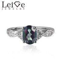 925 серебро настоящее кольцо с мистическим топазом овальной огранки зубец Установка переливающийся драгоценный камень Обручальные кольца д