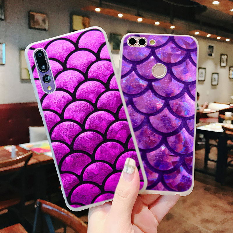 Silicone Case Mandalas Mermaid Scales for Huawei Nova 3 4 Honor 7C 7A 8 8X 9 10 Y5 Y6 Y7 Y9 V20 Lite Pro 2019 2018 Cover in Fitted Cases from Cellphones Telecommunications