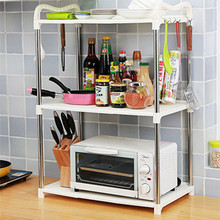 1 PCS 3 Layers Microwave Oven Shelf Floor Type Kitchen Double Storage Rack Shelf White Green Pink ABS Plastic Stainless Steel