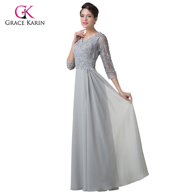 Grey Mother of the bride Dress Grace Karin Long Sleeves Evening Gown Women  Chiffon Groom Brides Mother Dresses for Weddings 6247 free shipping  worldwide b73dc3ff0a6e