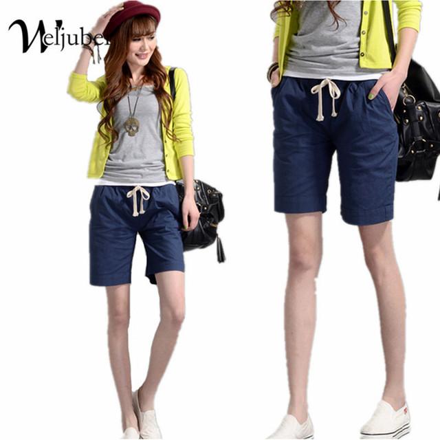 2016 nuevo estilo de verano de algodón de color femenino del caramelo pantalones cortos de lino flojo ocasional mujeres moda elástico cintura shorts feminino weljuber