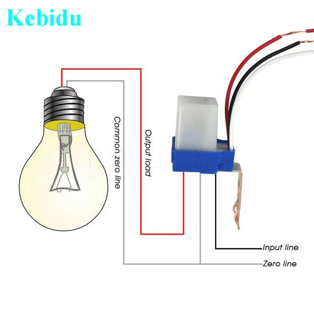 Kebidu אוטומטי אוטומטי על Off 110V 220V DC AC 12V 50 60Hz 10A חיישן מתג תא פוטואלקטרי רחוב אור מתג בקרת Photoswitch
