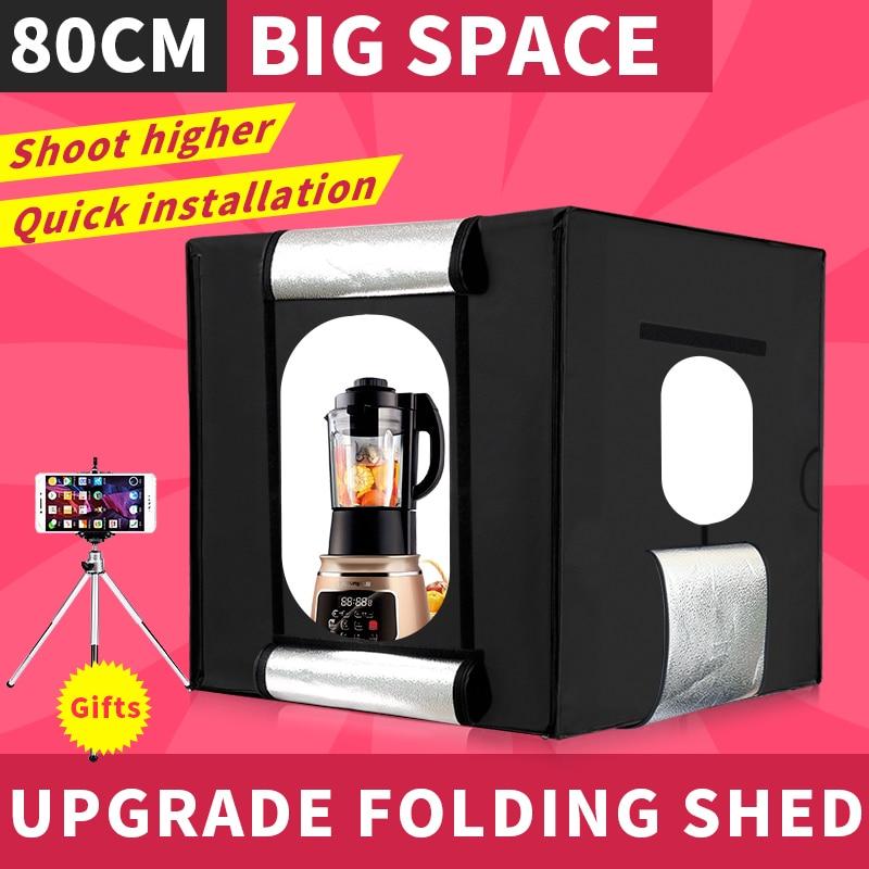 CY 80cm*80cm Studio soft box LED Shooting Light Tent photo light box lichtbak photo tent set+portable bag +2 Backdrop