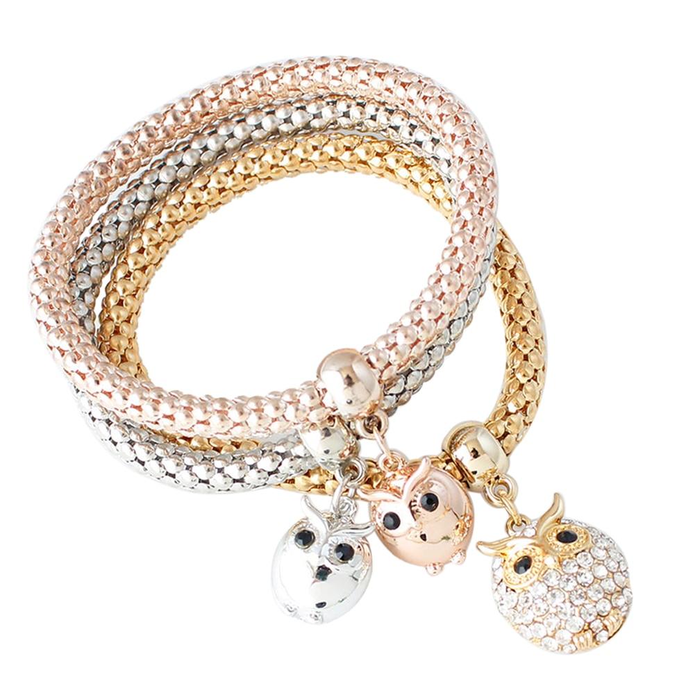 3 PCS Crystal Rope Owl Bangle Charm Bracelets&Bangles Rose Gold Silver Plated Crystal Bracelet Multilayer Bangles Pulseira
