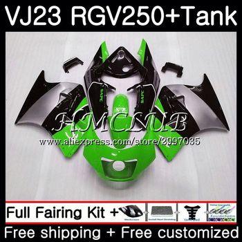Kit + tanque para SUZUKI VJ21 VJ22 VJ23 RGV250 Verde Negro caliente 97 98 cuerpo 43HC.8 RGV 250 VJ 21 22 23 SAPC RGV-250 1997 1998 carenado