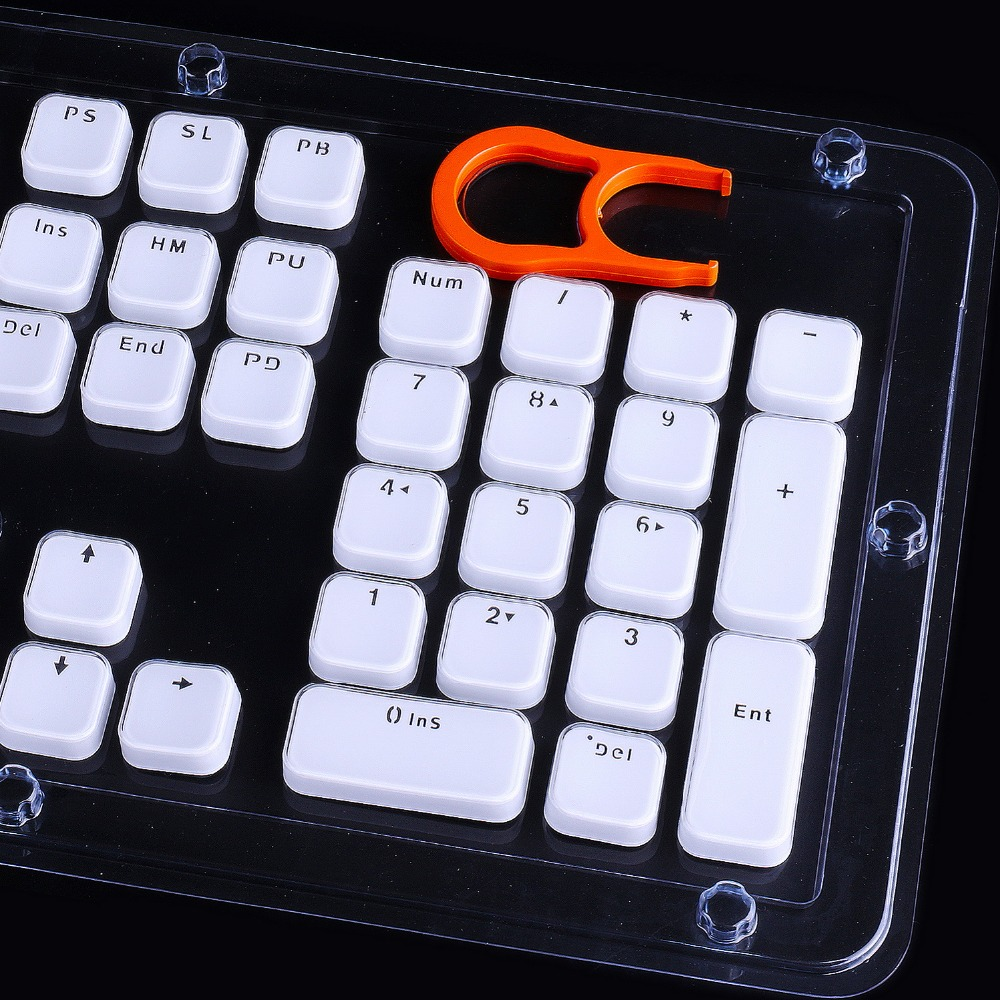 ea7a1dc0dc6 Low Profile Keycaps for MX Mechanical Keyboard White Crystal Edge Key Cap  with Puller