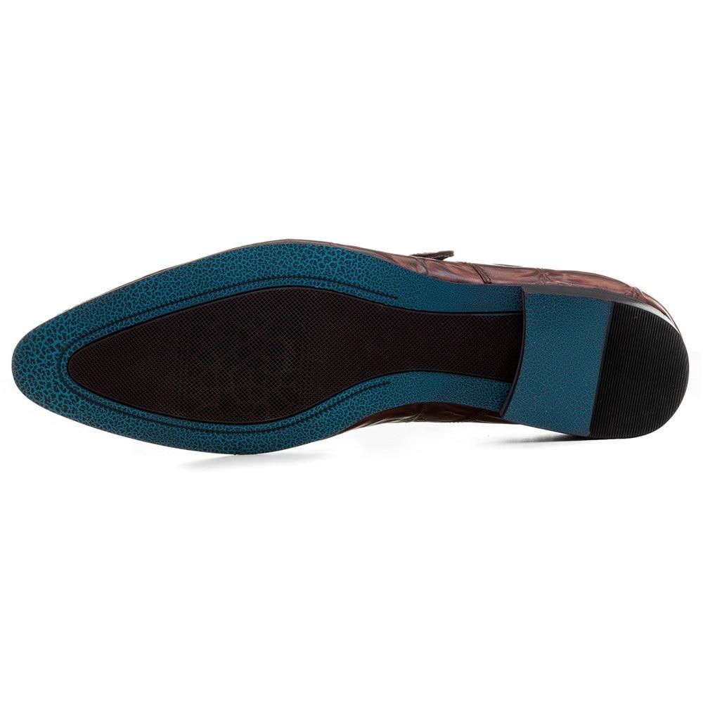 Крокодил зрна смеђе тан / црне менс - Мушке ципеле - Фотографија 4