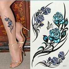 Fake Tattoo Sticker Sexy White Blue Rose Temporary Tattoo Body Art Flash Tattoo Stickers Waterproof Henna Tatoo Selfie For Women