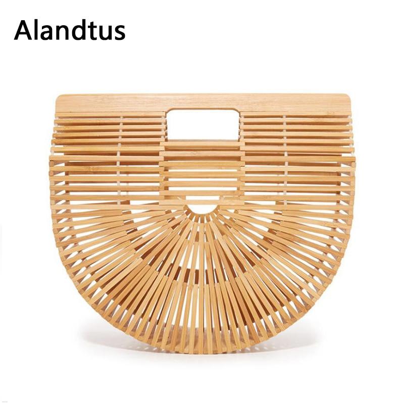Alandtus À La Mode sac à main des femmes Personanity Femelle Bambou Sac À Main Designer De Mode sacs d'embrayage Sac À Main Pour Dames De Paille sacs de plage